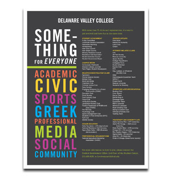 Delaware Valley College clubs and organizations flyer